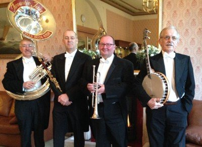 Traditional Jazz Band Sussex in white tie and tails, live music at a party, Jazz band in Sussex