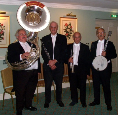 Trad Jazz Band in white tie and tails