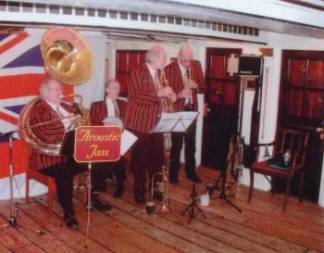 Jazz Band playing on HMS Victory for party entertainment