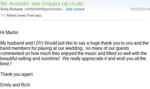 Unsolicited thank you letter from a wedding reception at Lymington, Hampshire