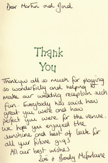 one of the many thank you letters we've recieved